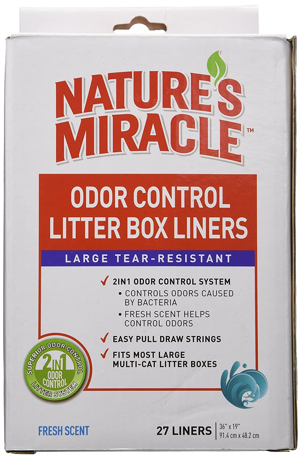 27 Count Nature's Miracle Odor Control Litter Box Liners, 27 Count