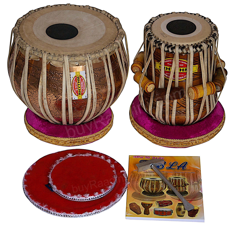 Mukta Das Tabla Drums - Concert Quality, 3.5 Kg Chromed Copper Bayan - Golden Ganesha Design, Sheesham Dayan, Padded Bag, Book, Hammer, Cushions, Cover, Tabla Musical Instrument (PDI-ADD)
