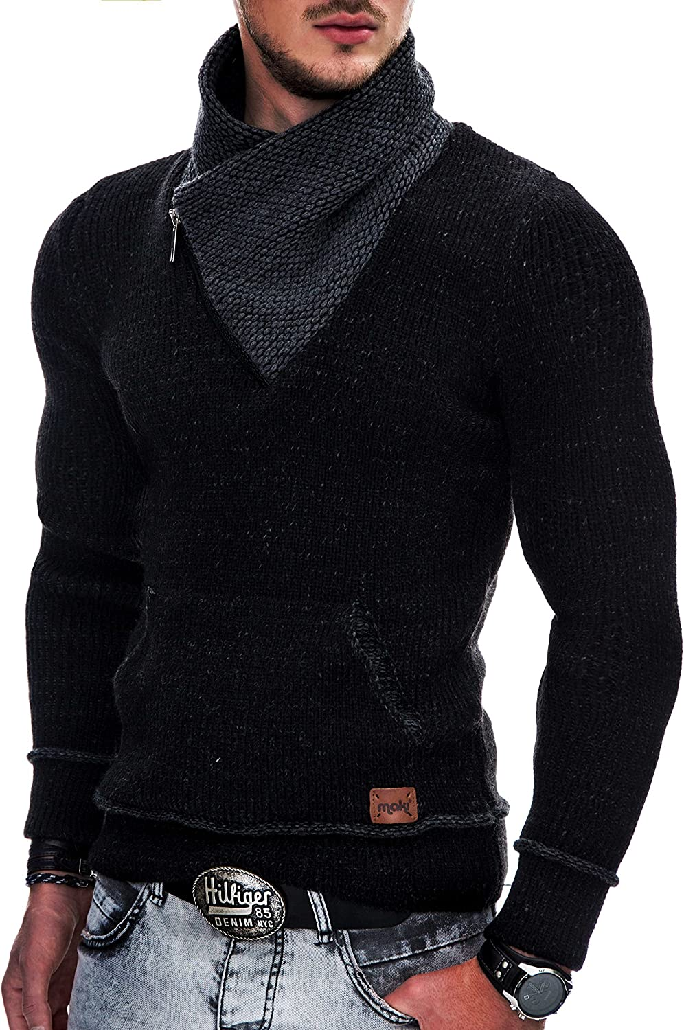 INDICODE Hombre Suéter tejido Capucha Sudadera Pullover Jerséis Knit Sweater 35-114 Black M