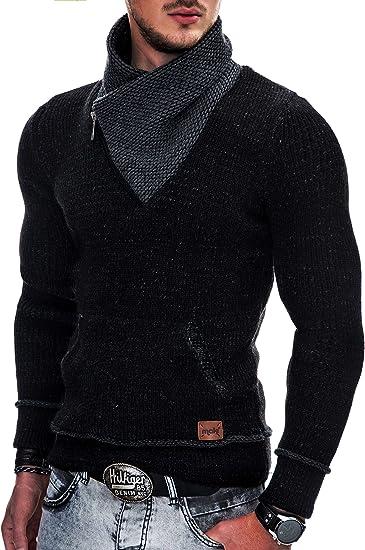 Indicode Caballeros Dane Suéter De Invierno Punto Grueso con Cuello Chal | Caliente Pullover Moderno Jersey Marca Hoddie Más Cómodo para Hombres En Negro M