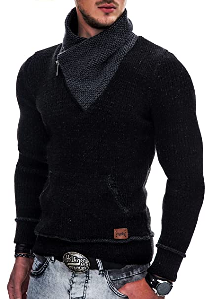 49a4723ea358 Indicode Herren Dane Grobstrick Winter-Pullover Norweger Hoodie  Kapuzenpullover Schalkragen Sweatshirt
