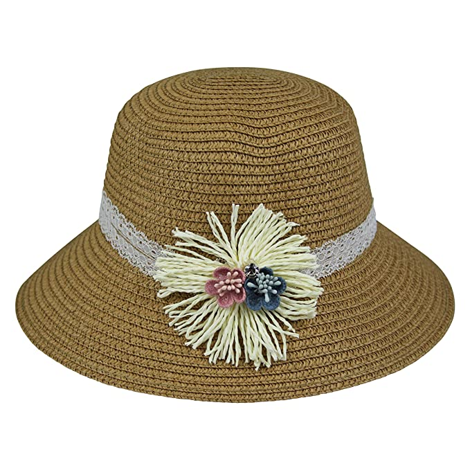 By Neki Girls Sun Hat with Flowers and Bow Foldable Packable UK Straw