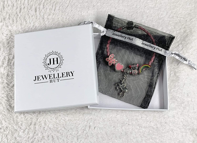 Bracelet /à breloques de licorne en cuir rose pour enfant avec bo/îte cadeau bijoux de fille