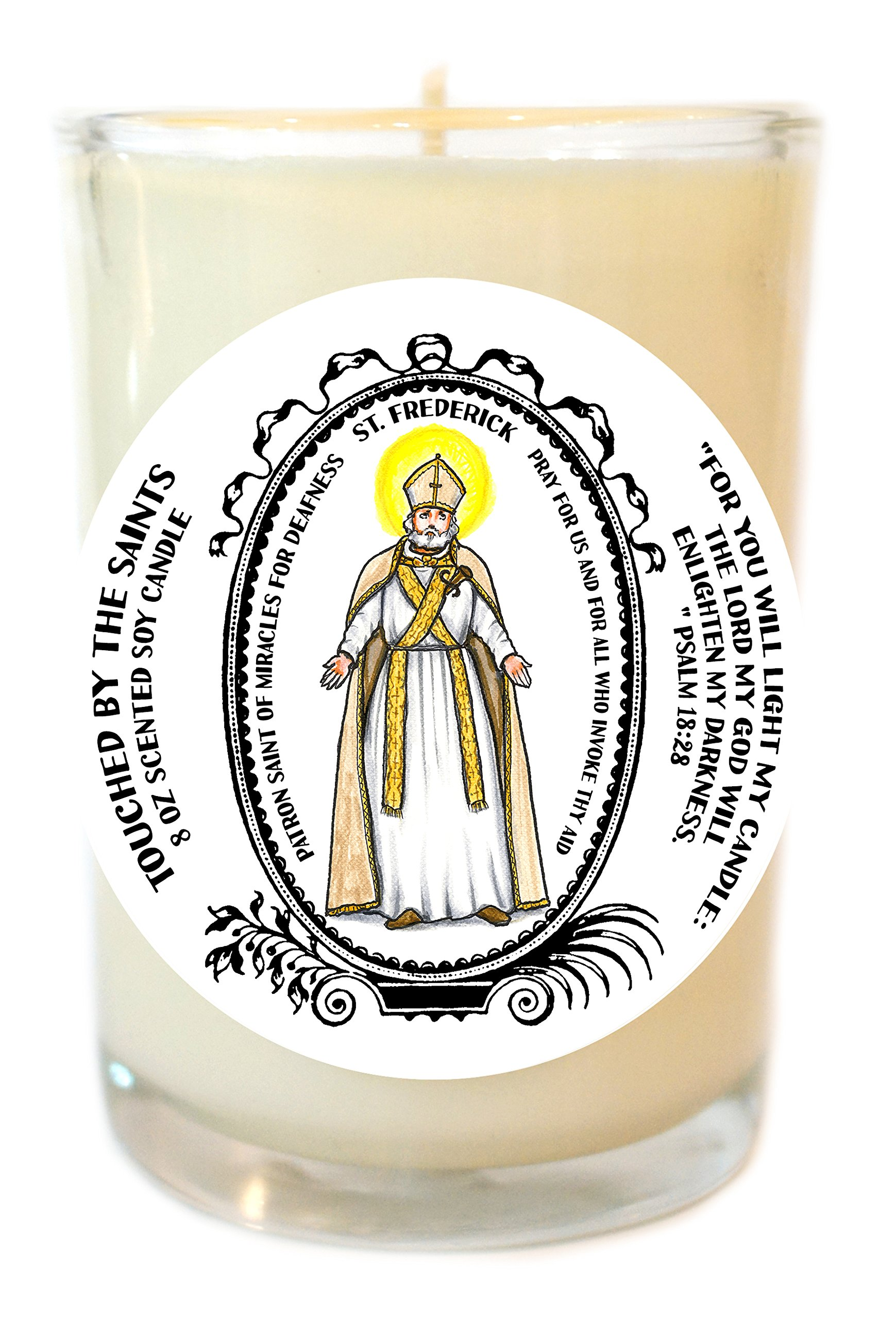 St Frederick of Miracles for Deafness 8 Oz Scented Soy Glass Prayer Candle