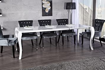 Esstisch JOHANN Ausziehbar 170 200 230cm Weiss Hochglanz Jugendstil Esszimmertisch  Tisch   Designer Möbel
