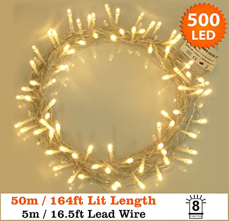 Fairy lights 500 led warm white outdoor christmas tree lights string fairy lights 500 led warm white outdoor christmas tree lights string lights 8 functions 50m mozeypictures Image collections