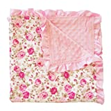 """PoshPeanut Kids Blanket Soft Minky Ruffled Edge Double Layer Throw Floral Baby Blankie 32"""" by 32"""""""