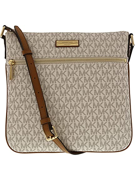 3635408375044 Michael Kors Bedford Signature Flat Cross-Body Bag - Vanilla ...
