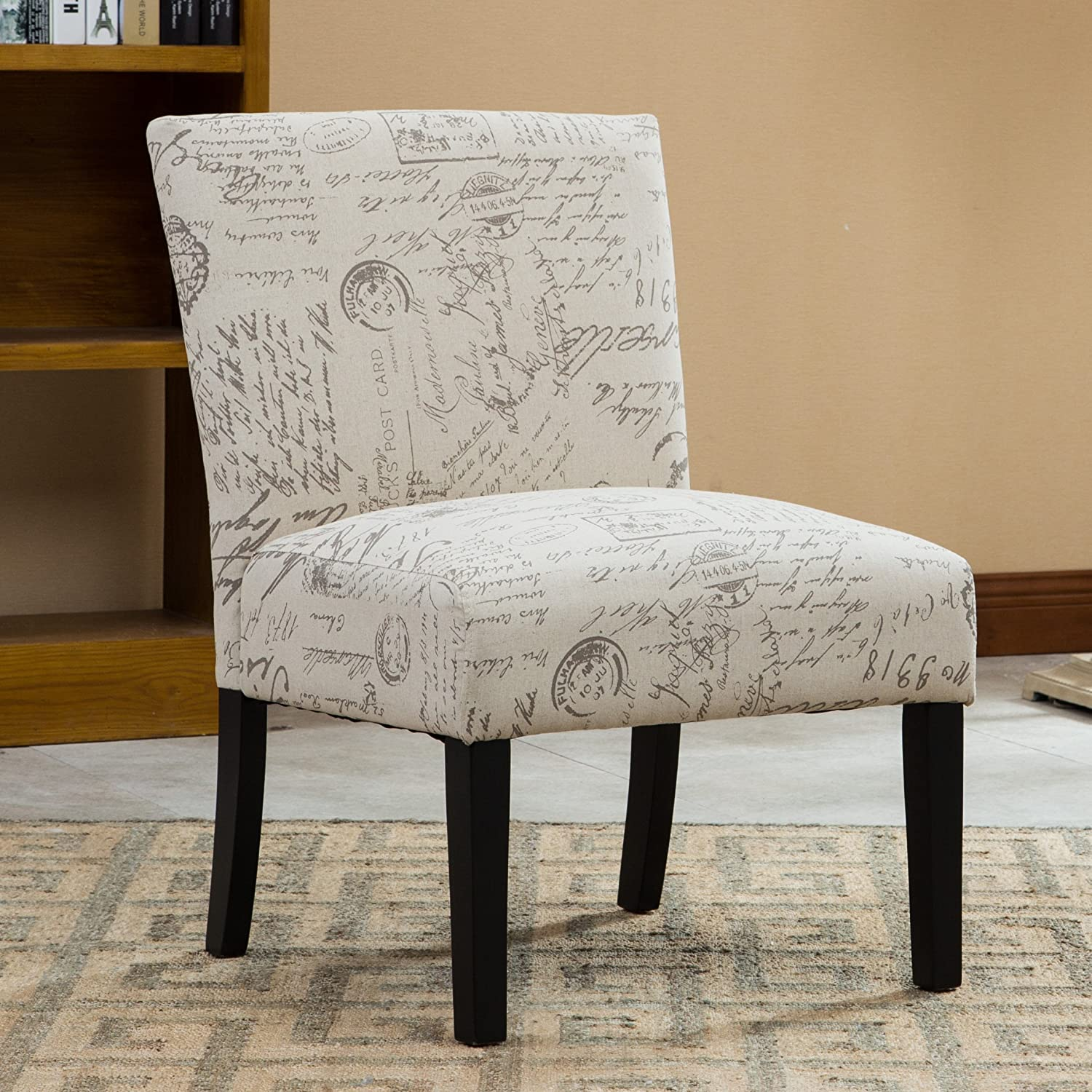Single sofa chair set - Roundhill Furniture Botticelli English Letter Print Fabric Armless Contemporary Accent Chair Single