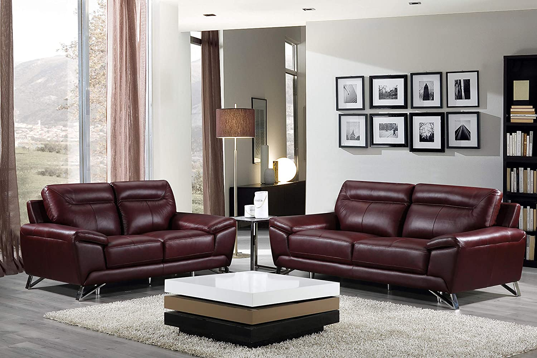Remarkable Cortesi Home Phoenix Genuine Leather Sofa Collection Merlot Sofa Loveseat Set Interior Design Ideas Clesiryabchikinfo