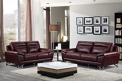 Cortesi Home Phoenix Genuine Leather Sofa Collection, Merlot (Sofa U0026 Loveseat  Set)