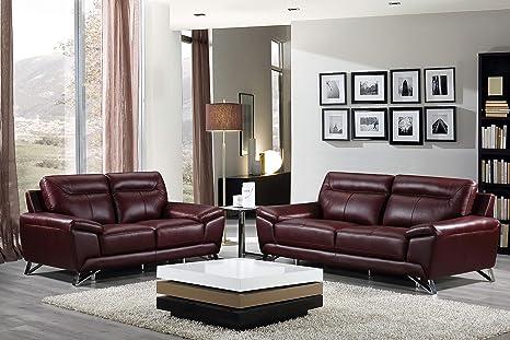 Cortesi Home Phoenix Genuine Leather Sofa Collection, Merlot (Sofa &  Loveseat Set)