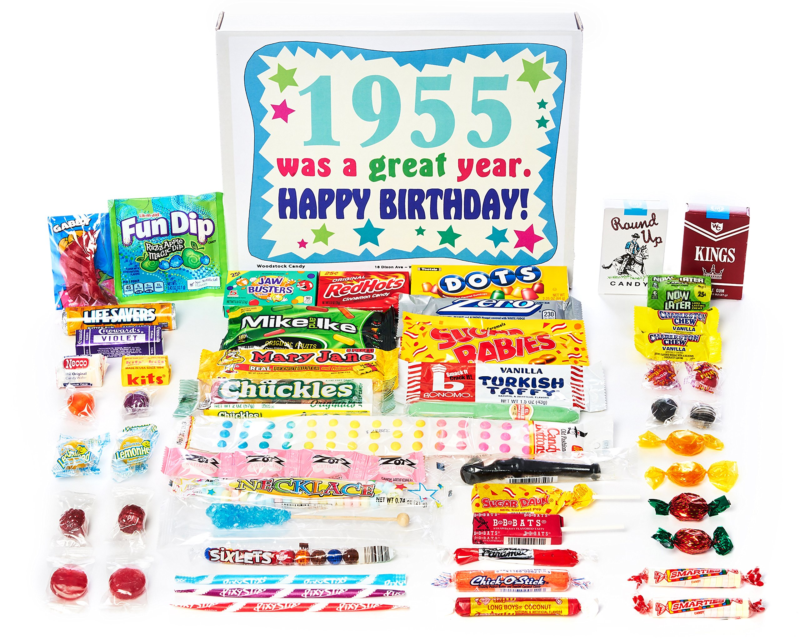 Woodstock Candy ~ 1955 64th Birthday Gift Box of Retro Nostalgic Candy Assortment from Childhood for 64 Year Old Man or Woman Born 1955
