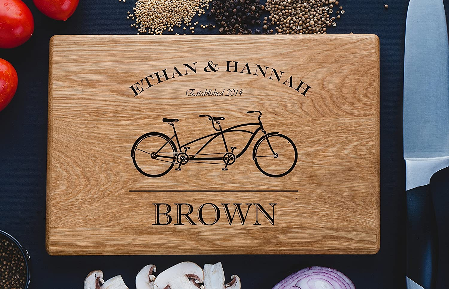 Double bicycle Personalized Engraved Cutting Board Family Custom Wedding Gift, Anniversary Gifts, Housewarming Gift,Birthday Gift, Corporate custom12
