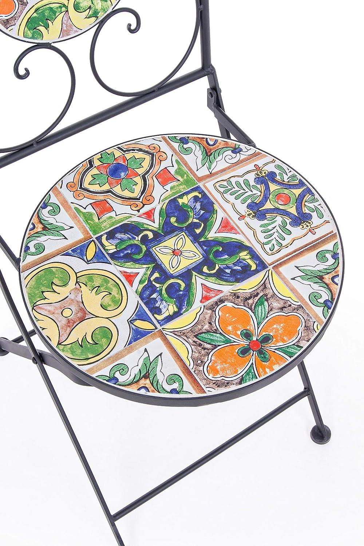 per Esterno o Interno Pieghevole Naxos Bizzotto Sedie da Giardino in Acciaio con Decoro in Ceramica