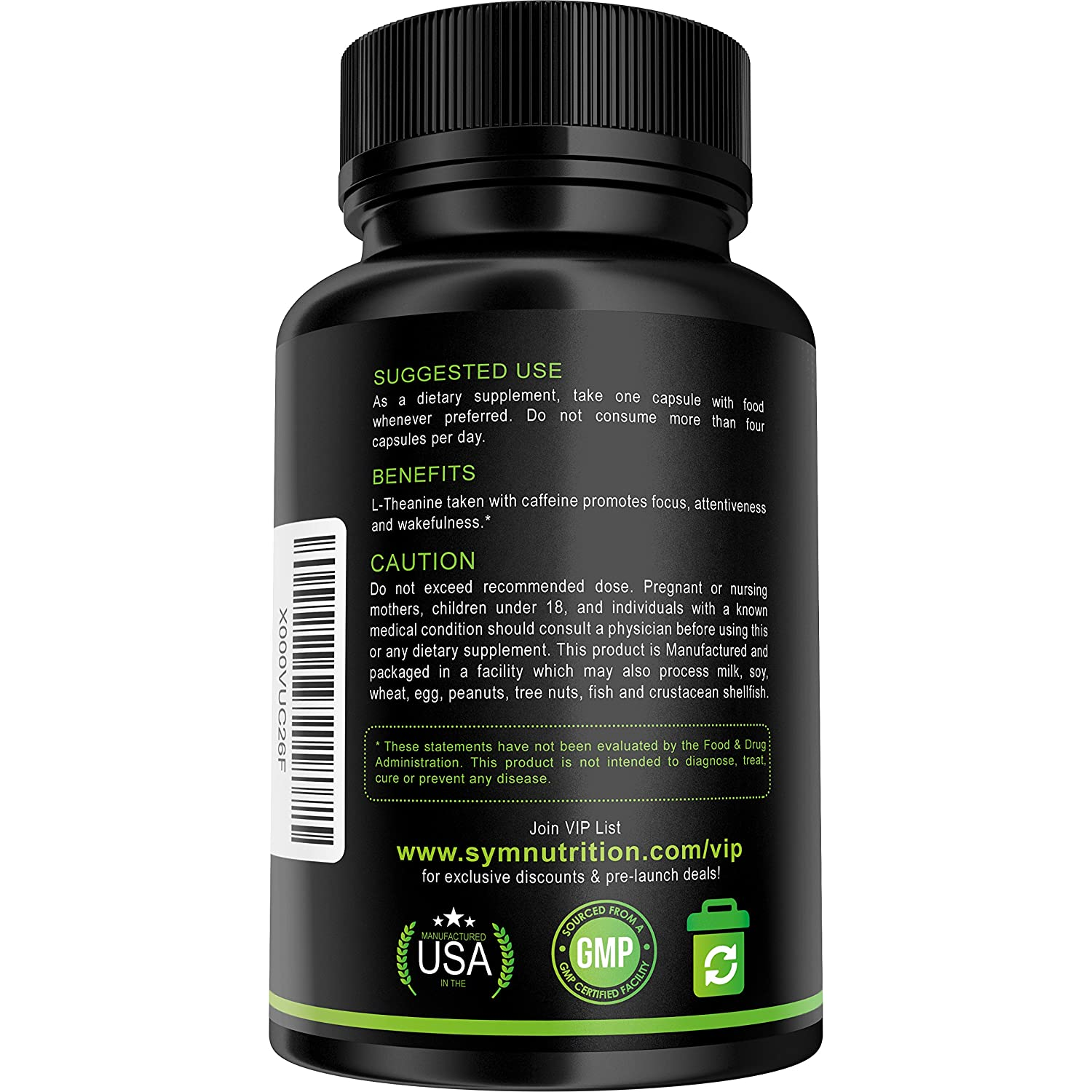 Amazon Caffeine 100mg L Theanine 200mg 90 Count