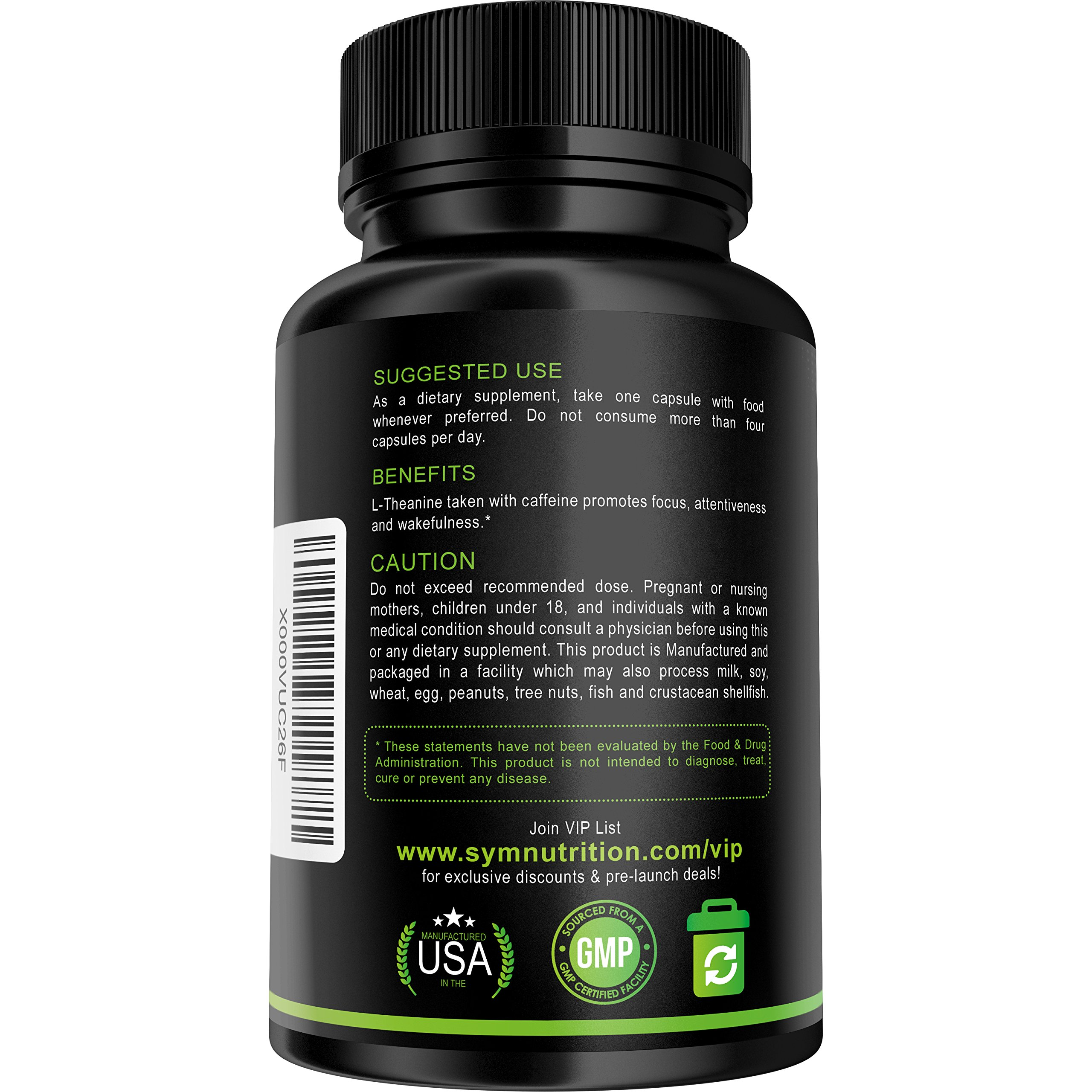 Caffeine 100mg, L-Theanine 200mg - 90 Count (V-Capsules); Taken for Better Focus, Energy, Mood & Wakefulness | Nootropic Stack | Non-GMO & Gluten Free by SYM Nutrition (Image #3)