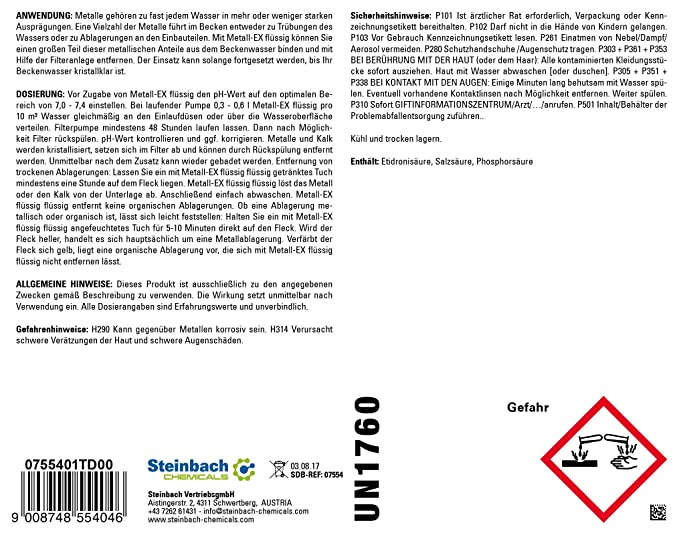 Steinbach Piscina Química, Metal EX, Color Blanco, 10 x 10 x ...