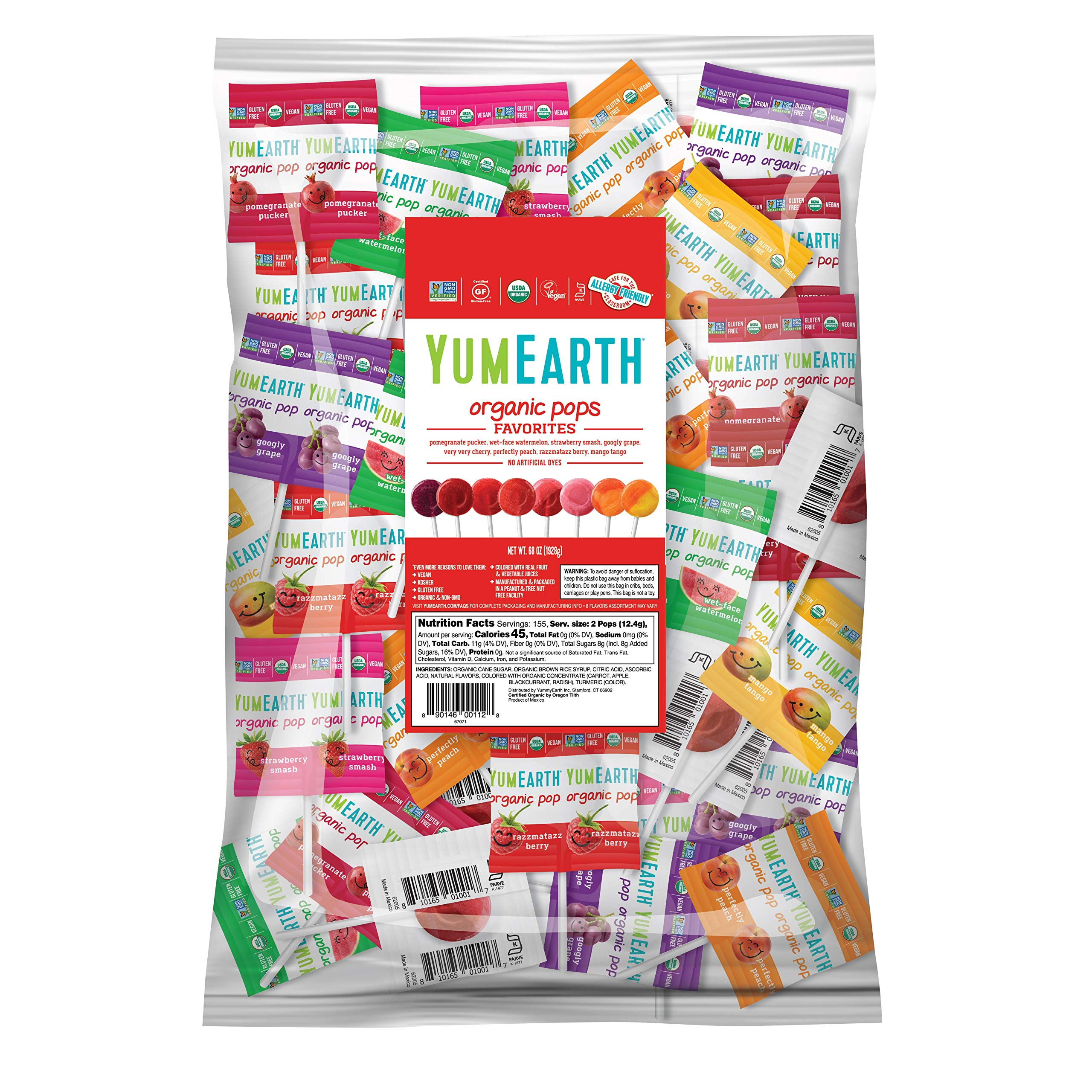 YumEarth Organic Lollipops, Variety Pack, 4.25 lb (pack of 1) - Allergy Friendly, Non GMO, Gluten Free, Vegan (Packaging May Vary)