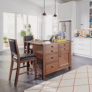 Tahoe Aged Maple Kitchen Island with Gray Quartz Stone Top and 2 stools by  Home Styles
