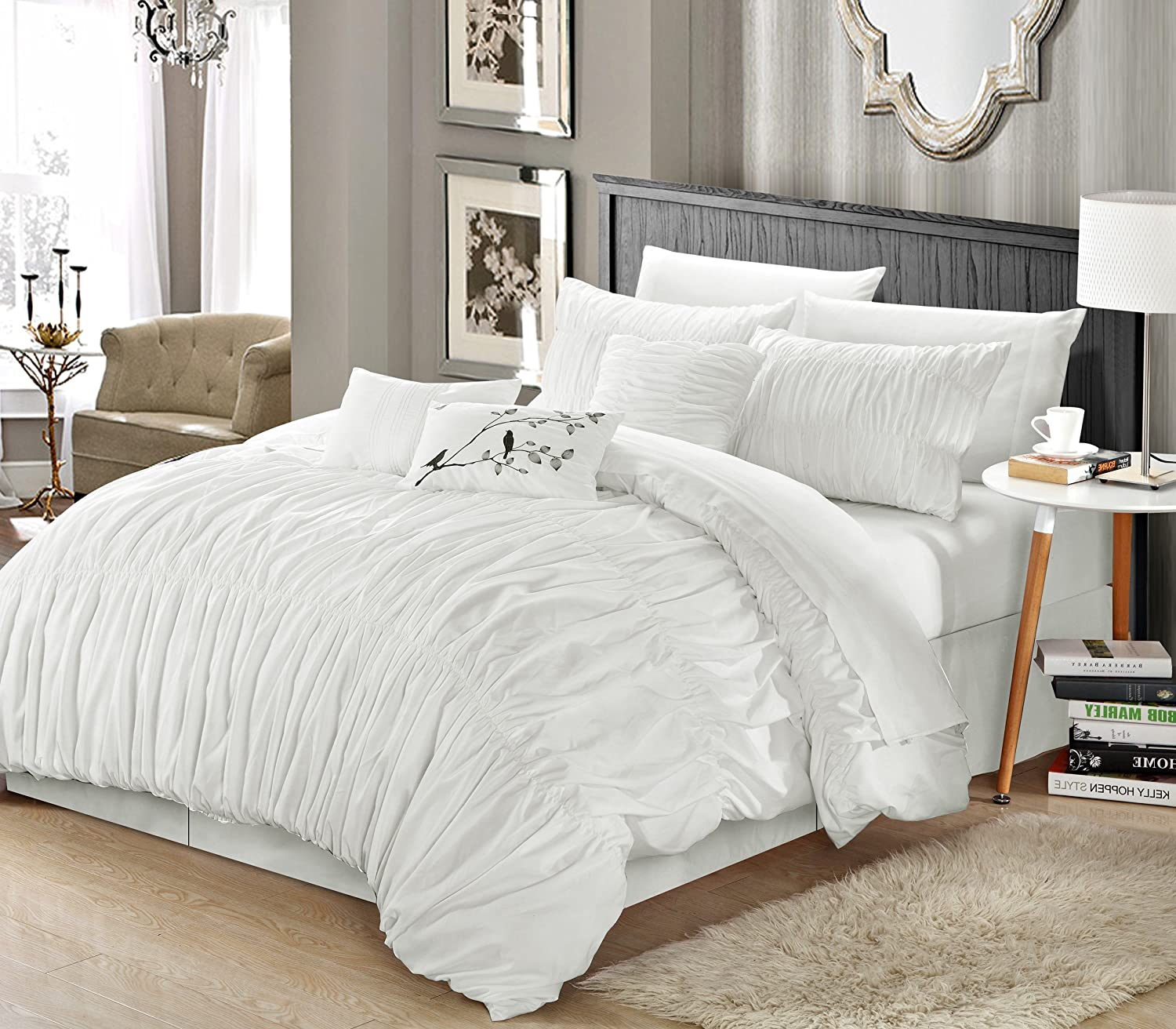 8pcs White Super Soft Pleated Stripe Bed-in-a-Bag Comforter Set and Sheet Set