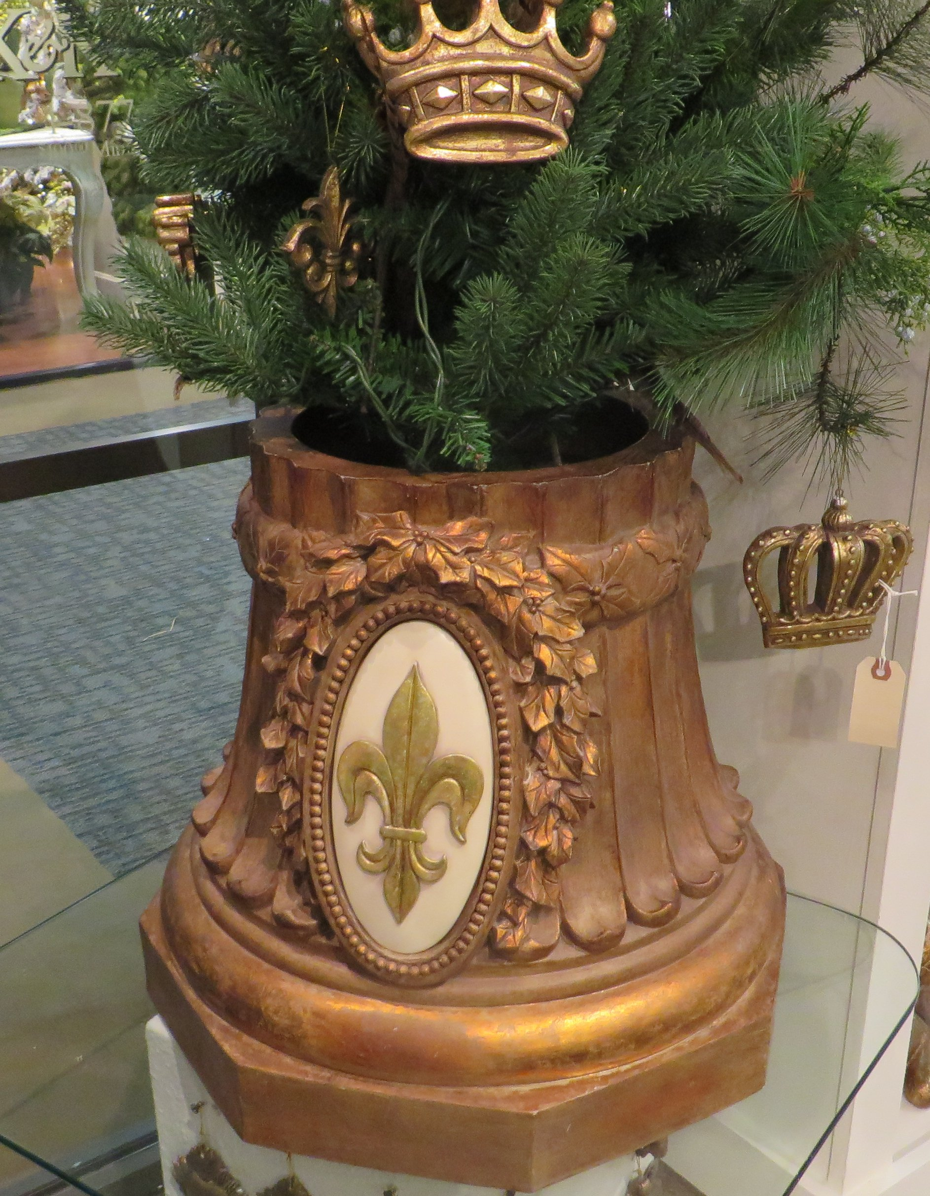 Ornate Gold Fleur de Lis Tree Holder | Christmas Xmas Urn Stand European Old World by My Swanky Home (Image #2)