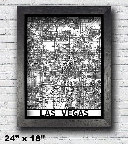 Amazon.com: Las Vegas, Nevada Laser Cut Map, 3D Street Map, 24x18 ...