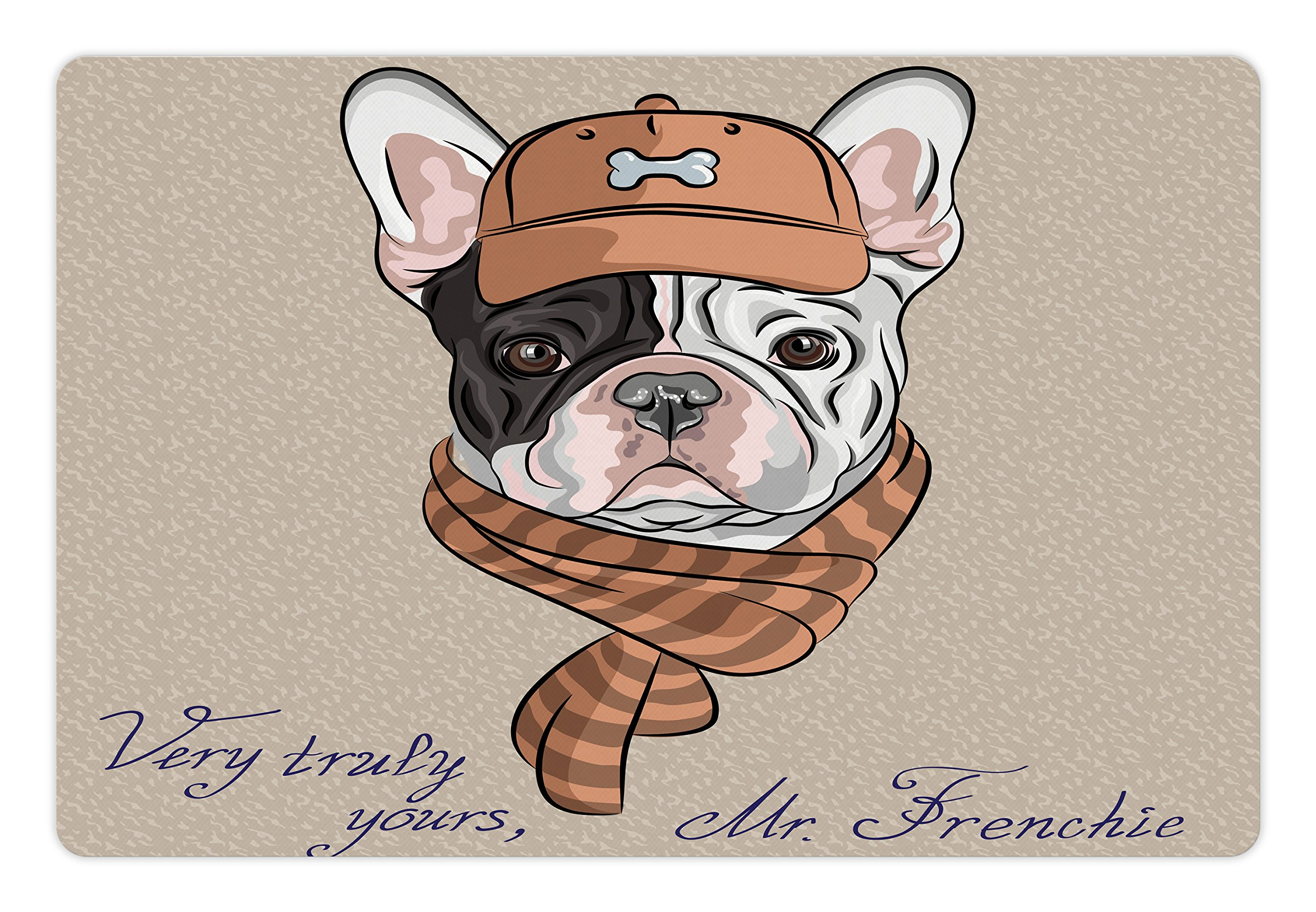 Lunarable Vintage Pet Mat for Food and Water, Funny Hipster French Bulldog with Cap and Lines Scarf Punk Animal Humor Art, Rectangle Non-Slip Rubber Mat for Dogs and Cats, Ecru Pink Brown