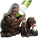 Atlantic Collectibles Prehistoric Dinosaur T-Rex Head Wine Bottle And Salt Pepper Shakers Holder Figurine Set
