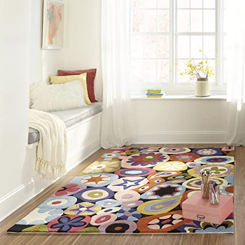 Momeni Rugs Lil Mo Hipster Collection, Kids Themed Hand Carved Tufted Area Rug, 4 x 6 , Multicolor