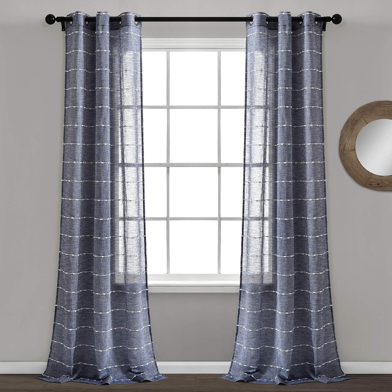 Lush Decor Navy Farmhouse Textured Grommet Sheer Window Curtain Set (84