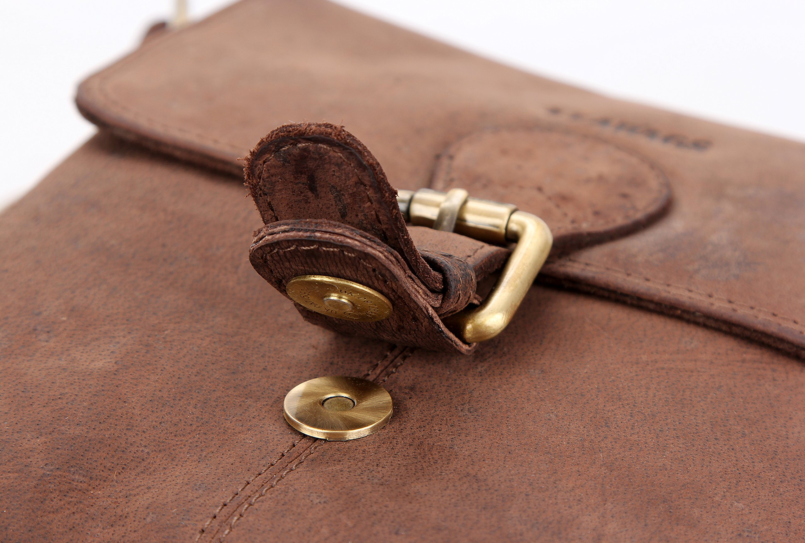 LEABAGS Weston genuine buffalo leather city bag in vintage style - Nutmeg by LEABAGS (Image #6)