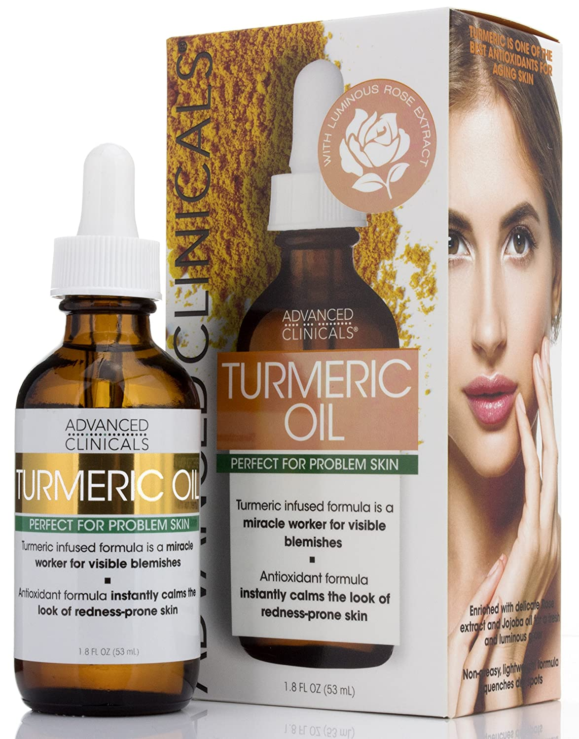 Advanced Clinicals Turmeric Oil for face. Antioxidant formula with Rose Extract and Jojoba oil for dry skin redness and skin blemishes. Large 1.8oz glass bottle with dropper.