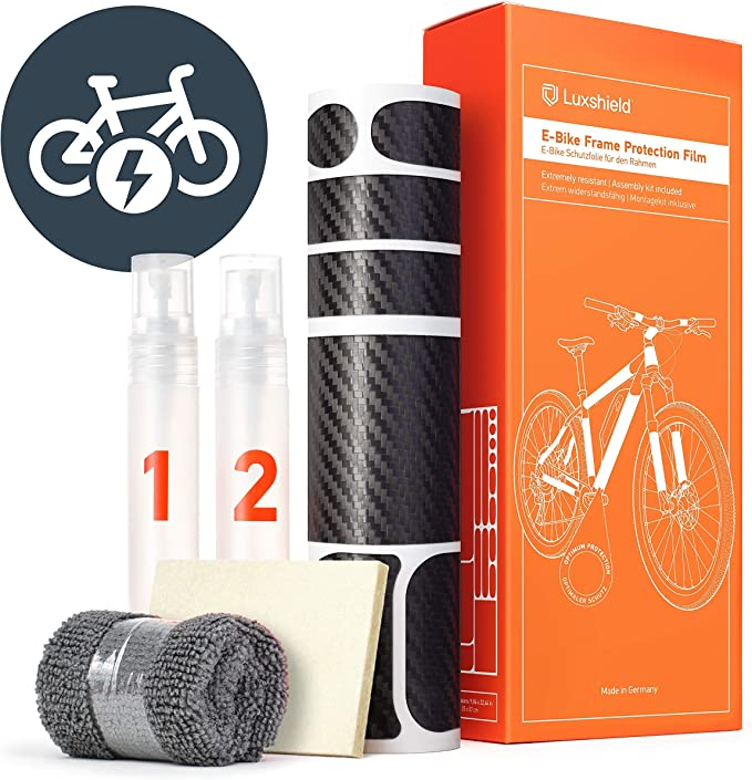 Luxshield E Bike Lackschutzfolie Für Ebike Pedelec Elektro Fahrrad E Bike Mtb Etc 20 Teiliges Rahmen Set Gegen Steinschlag Carbon Optik Selbstklebend Sport Freizeit