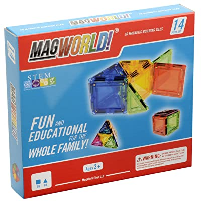 MagWorld Toys Magnetic Construction Rainbow Colors -14 Piece Set. Create in 2D and 3D. STEM Play Age 3 and Up.: Toys & Games
