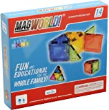 MagWorld Toys Magnetic Construction Rainbow Colors -14 Piece Set. Create in 2D and 3D. STEM Play Age 3 and Up.