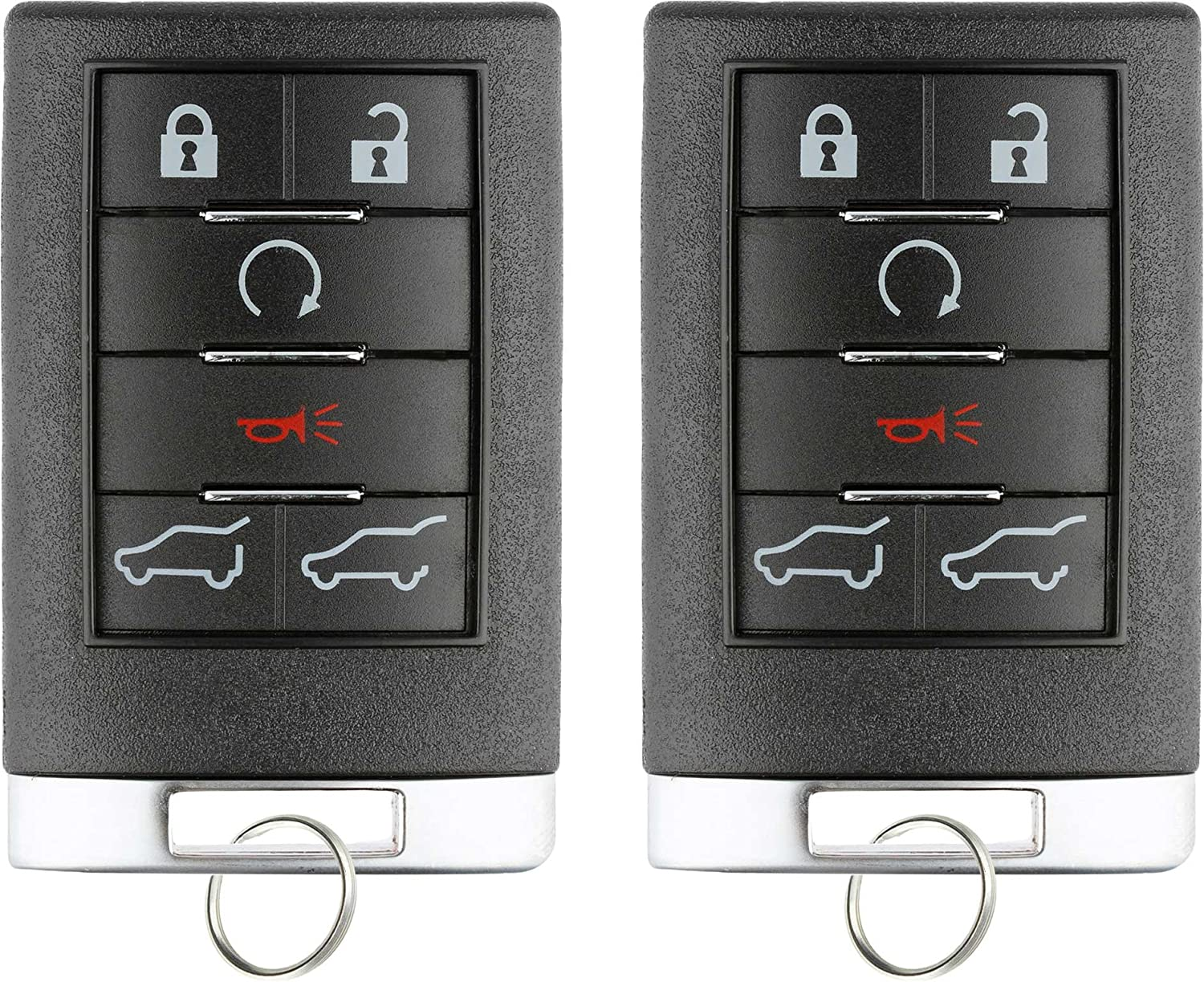 KeylessOption Keyless Entry Remote Control Car Key Fob Replacement for Cadillac Escalade EXT ESV Pack of 2
