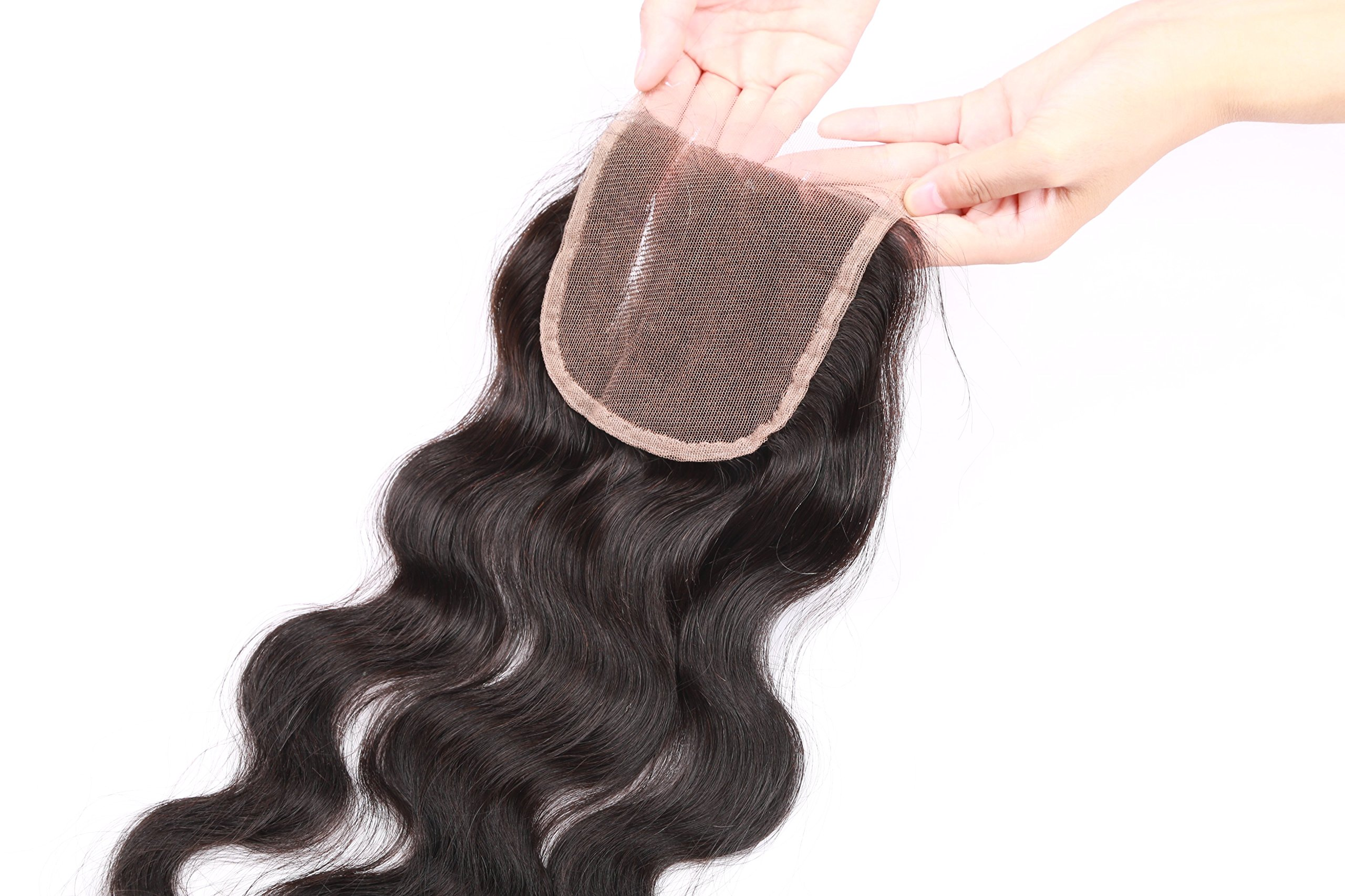 Fennell 3 Part Closure Body Wave Virgin Brazilian Hair 130% Density Lace Closure Natural Hair Color Soft and Silky(8''-20'') (8 inches) by Fennell (Image #2)