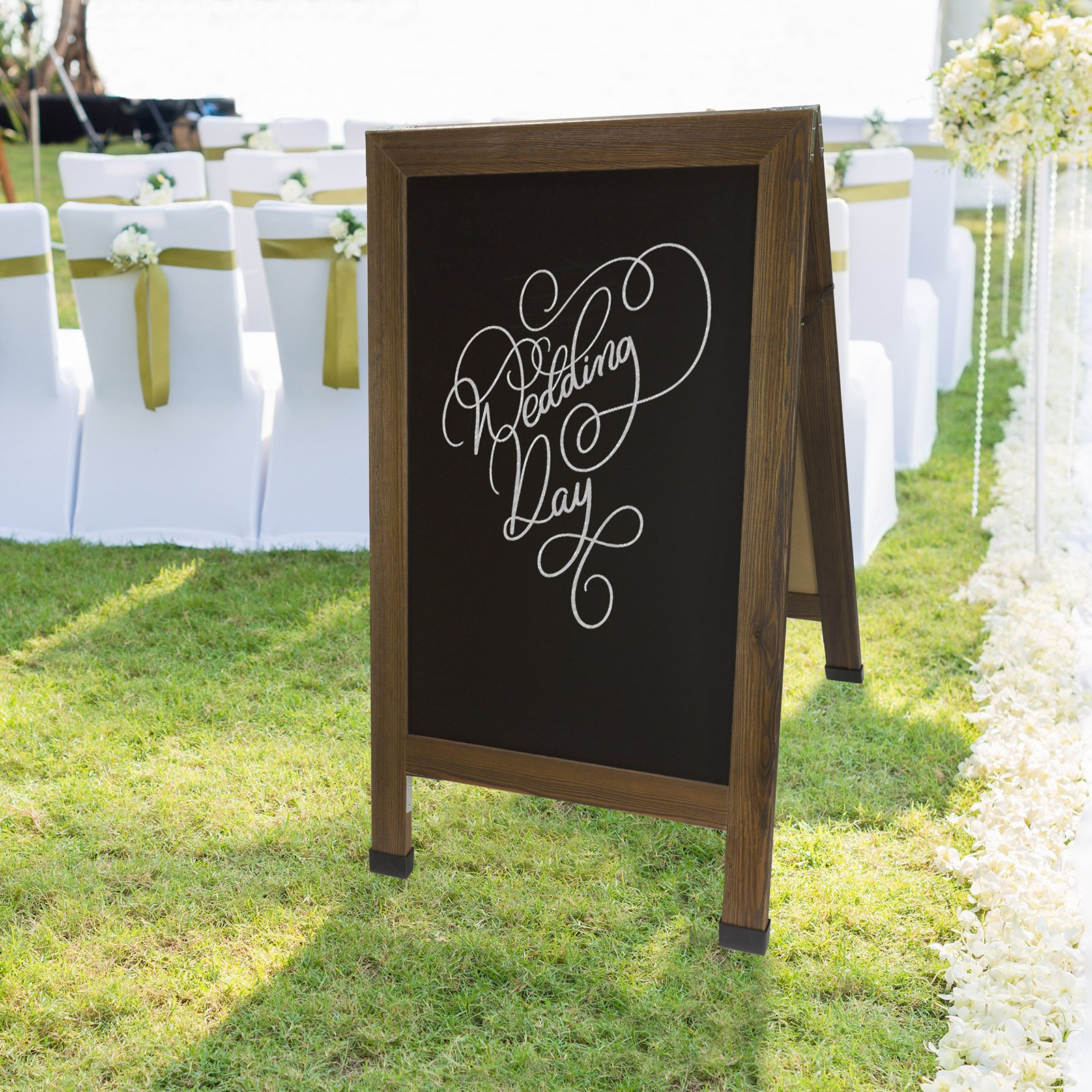 Sandwich Board Sidewalk Chalkboard Sign: REINFORCED, HEAVY-DUTY / 10 CHALK MARKERS / 40 PIECE STENCIL SET / CHALK / ERASER / DOUBLE SIDED / LARGE 40x23 Chalk Board Standing Sign A-Frame (Rustic) by Excello Global Products (Image #9)