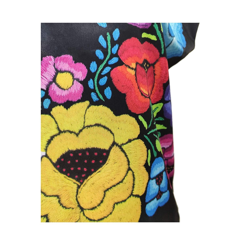 Huipil Estampado Huipil de flores grandes Tela Negra 100/% Oaxaque/ño Hecho en M/éxico.