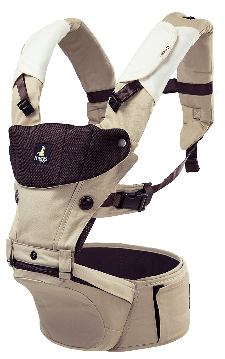 Abiie HUGGS Baby Carrier Hip Seat - Approved by U.S. Safety Standards - Healthy Sitting Position (M-Position) - Front Facing, Hip Hugger, Back Baby Carrier - 100% Cotton, 2-Year Warranty (Grey) 101010065