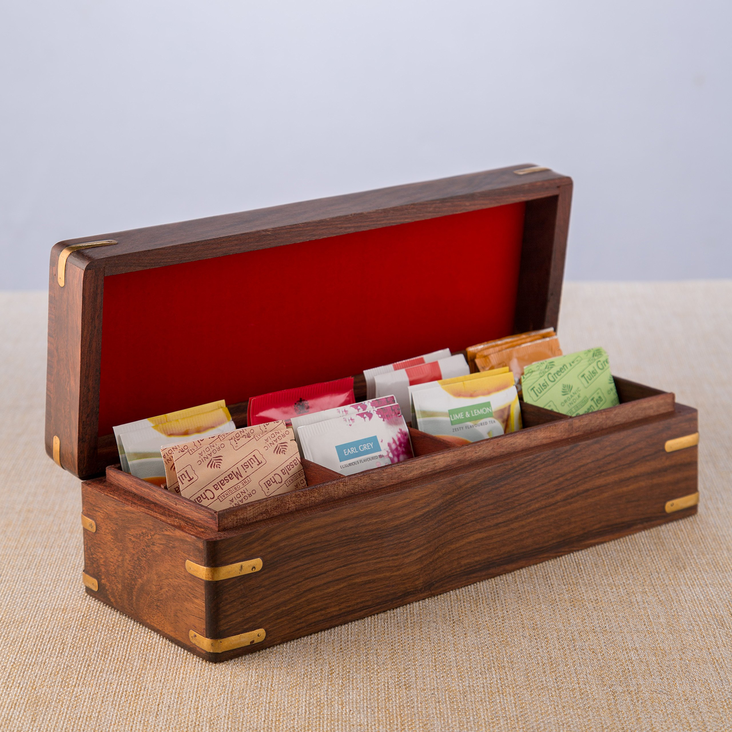 Rusticity Wood Tea Box/Spice Storage Box with Lid and 8 pockets   Handmade   (12x4.5 in)