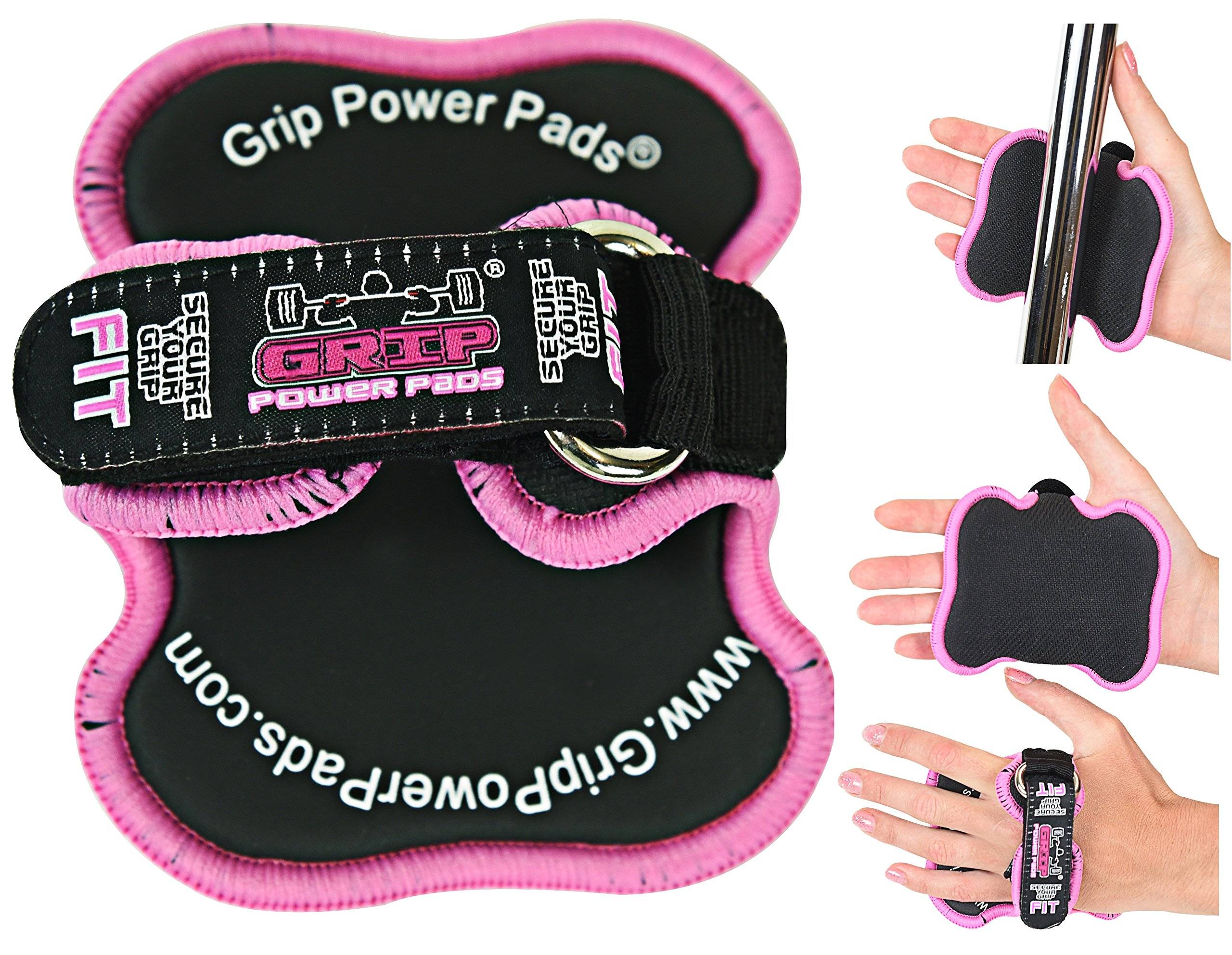 Women's Fitness Gloves Grip Power Pads FIT - Lifting Grips The Alternative To Gym Gloves Workout Gloves (Pink) by Grip Power Pads