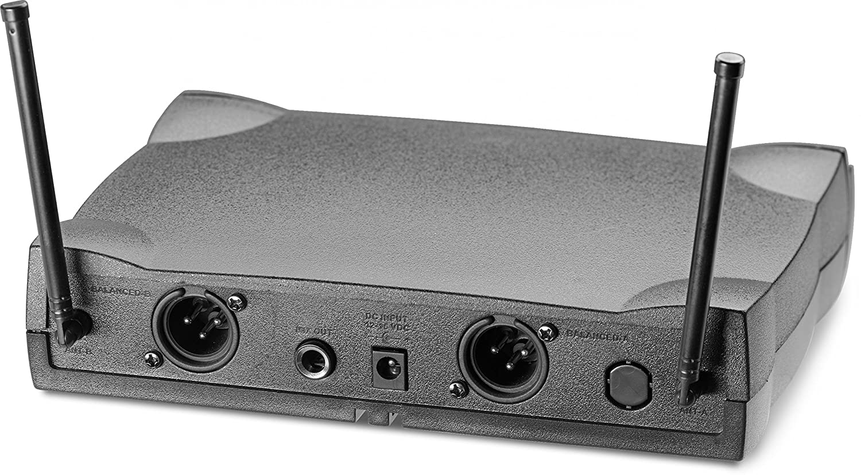 UK Sistema de micr/ófono cardioide din/ámico inal/ámbrico de 2 canales UHF