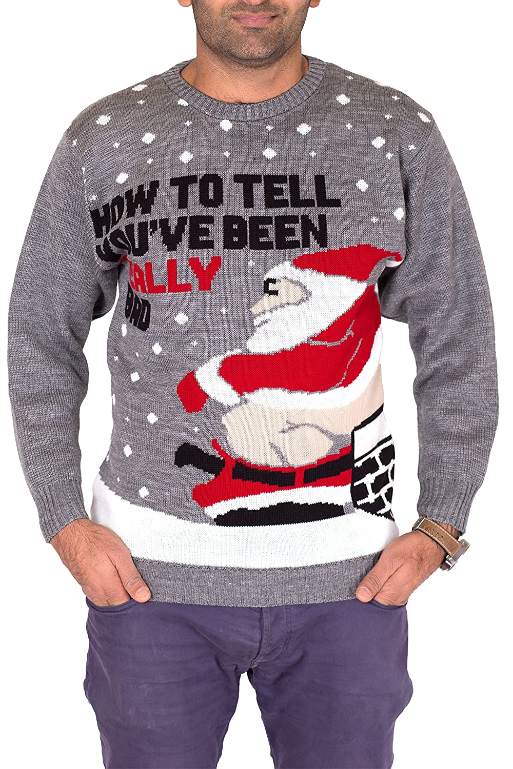 Noroze Mens Womens Unisex Jumper Xmas Pullover Really Bad Santa + Free Hat
