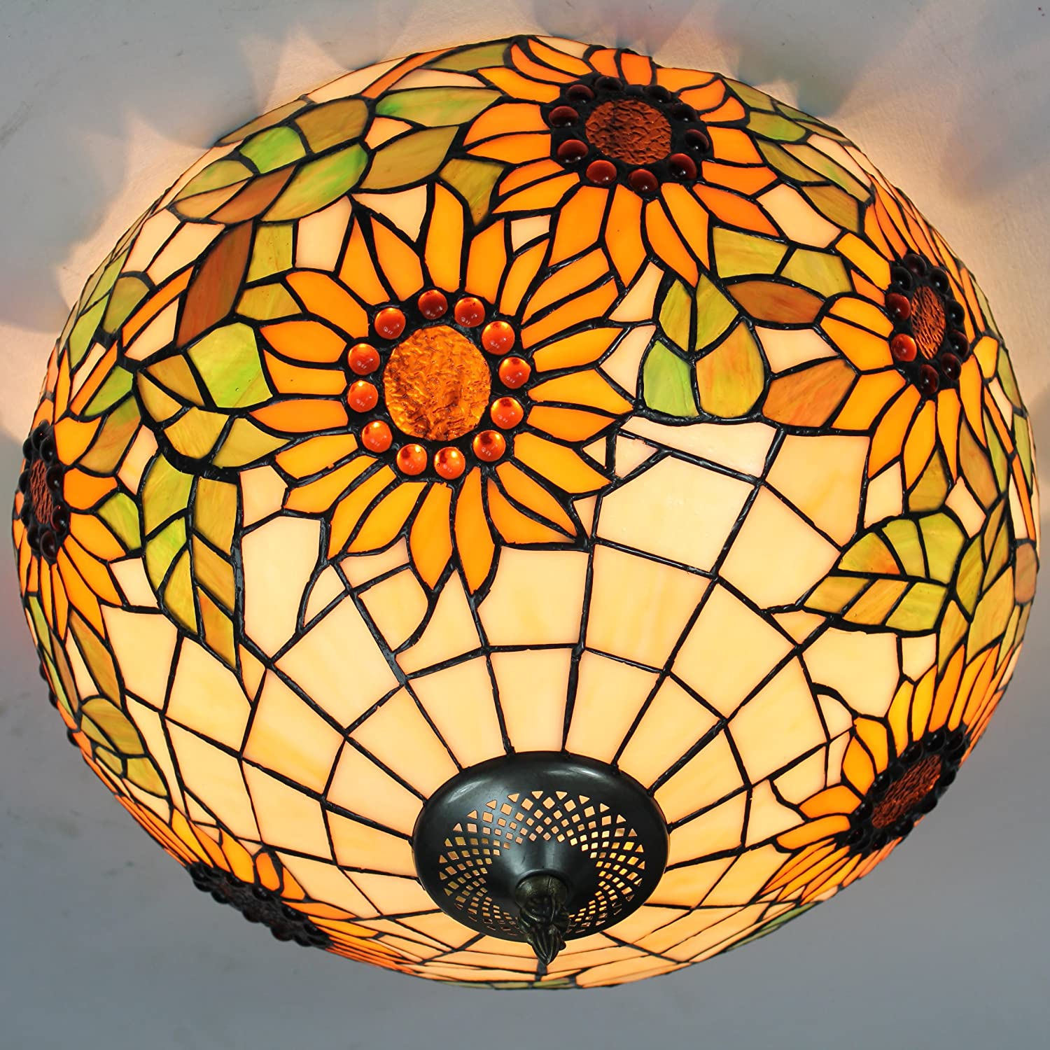 16-Inch European Retro Style Tiffany Sunflower Stained Glass Flush Mount Ceiling Light Dining Room Light