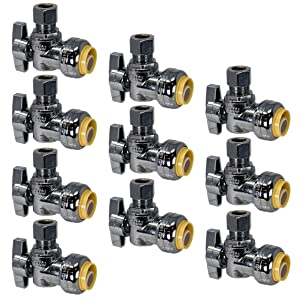 "PROCURU PushFit Angle Stop Valve 1/2"" Nom x 3/8"" OD Compression, Quarter-Turn ON/Off for Bathroom Fixtures - Faucet, Toilet Supply Shut-Off - Lead Free Certified (10-Pack)"