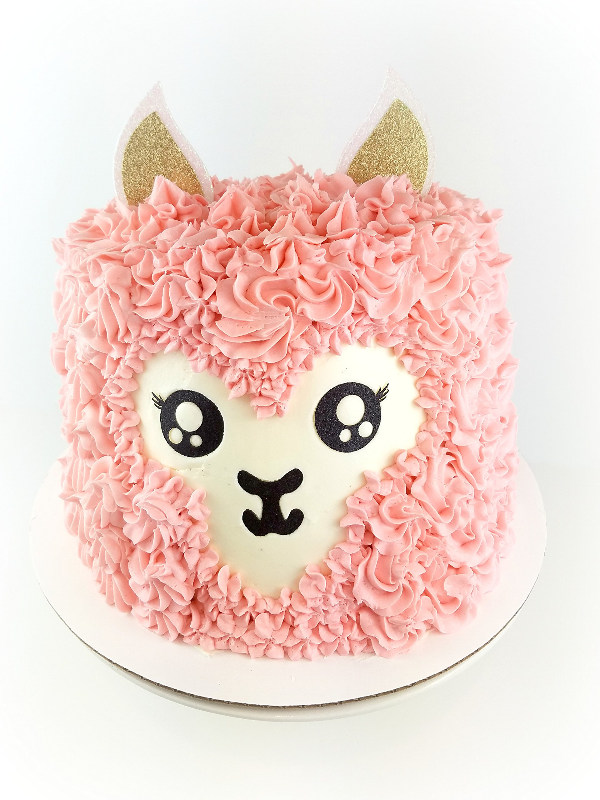 Handmade Llama Birthday Cake Topper Decoration - Alpaca - Made in USA with Double Sided Glitter Stock (Cake not included) by CMS Design Studio