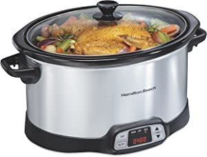 Hamilton Beach 33480 8-Quart Programmable Slow Cooker, Silver