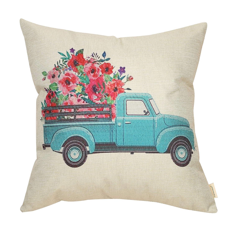 Fahrendom Vintage Floral Truck Retro Farmhouse Decor Spring Summer Flower Sign Decoration Cotton Linen Home Decorative Throw Pillow Case Cushion Cover ...